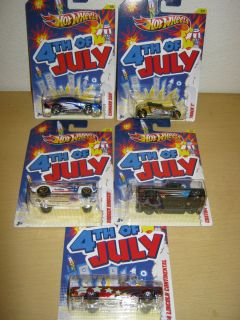 Hot Wheels 2012 Entire Set of 5 4th of July Cars Brand New Mint