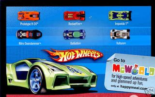 McDonalds 2009 Hot Wheels Happy Meal Toys