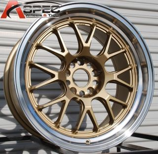 5x114 3 38 Gold Machined Lip Wheels Fit Mazda 3 6 RX 8 IS250