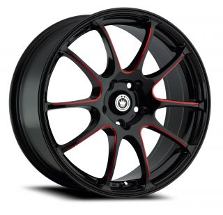 17 Konig Illusion Black Red Wheels Rims 5x4 5 5 lug Acura Honda Nissan
