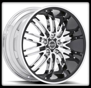 10 20 X 8 5 RUFF RACING R941 CHROME W BLACK STAGGERED SET WHEELS RIMS