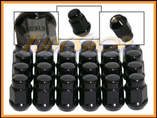 24 Bulge Acorn Wheels Rims Lug Nuts 12x1 5 M12 1 5 Closed End Black 19