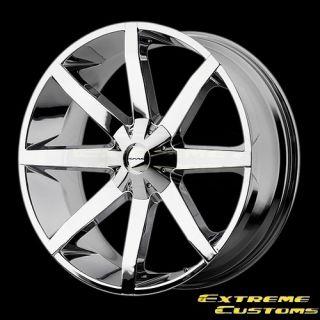 22 x9 5 KMC Wheels KM651 Slide Chrome 5 6 Lug Wheels Rims Free Lugs