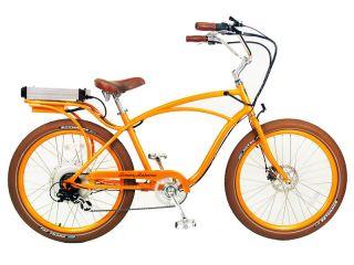 ® Electric Cruiser Bicycle Bike Orange Frame Rims Brown Tires