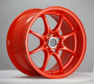 15 KONIG FLATOUT ORANGE RIMS WHEELS 15x8 25 4x100 MAZDA MIATA SCION XB