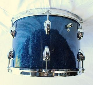 Blue Sparkle Tom Drum Brass Rims 60s Vintage Maple Mahogany