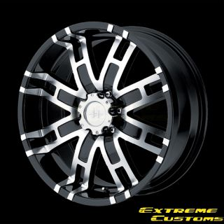 x9 Helo HE835 Gloss Black Machined 5 6 8 Lugs Wheels Rims FREE LUGS