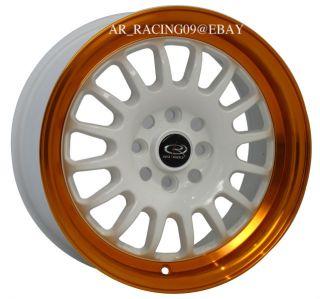 15 Rota Rims Track R Orange CRX Fit Integra Civic SI