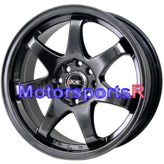 15 15x7 XXR 522 Chromium Black Concave Rims Wheels 4x100 83 84 87 91