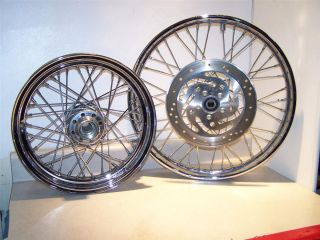 Davidson Complete Set of Chrome Wire Spoke 16 21 Rims MT