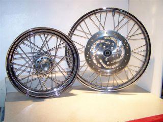 Davidson Complete Set of Chrome Wire Spoke 16 21 Rims MT