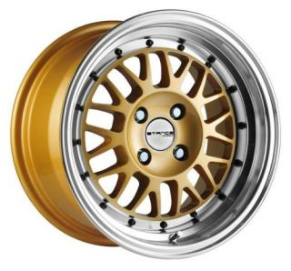 16 STANCE MINDSET GOLD RIMS WHEELS 16x8 +26 4x100 BMW E30 2002 MIATA