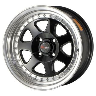 Drag Wheels DR 27 15x7 4x100 et10 Gloss Black Rims Civic Integra