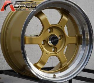 15x8 Chikara RS6 Wheels 4x100mm Rims ET30MM Fits Integra Civic Miata
