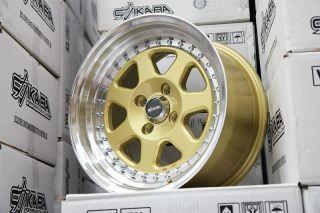 Chikara RS7 Wheels 15x8 3 Lip Drag DR27 RIM Gold Machined Polished Lip