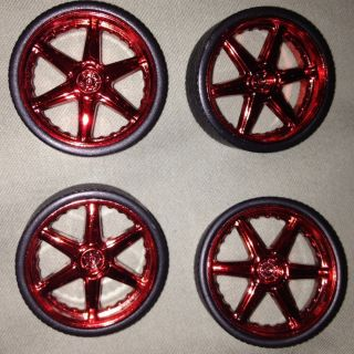 Jada 1 24 Scale Wheels Rims Tires Chrome Red Stock Factory Import