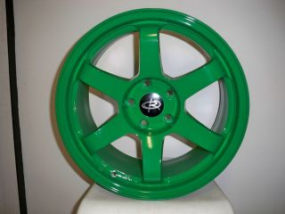 17 Rota Grid Green Rims Wheels 17x9 25 5x114 3 EVO9 evo8 STI