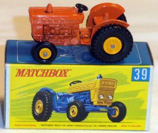 DTE LESNEY MATCHBOX REGULAR WHEELS 39 3 RARE ORANGE FORD FARM TRACTOR