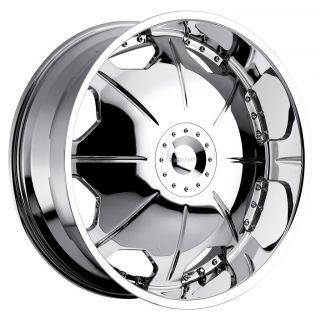 26 inch Strada Mirror Chrome Wheels Rims 6x5 5 Hummer H3 Chevy Tahoe