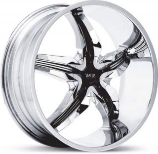 Status Dystany S822 Chrome W/ Black Wheels Rims 255 30 22 Tire Package