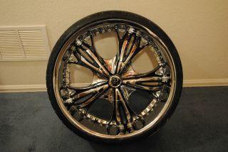 Diablo Angel Chrome Wheels Rims Low Pro Tire Package Wheel Rim