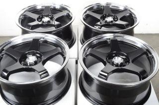 Black 4 Lug Wheels Tiburon Sentra Altima Jetta Elantra V40 Rims