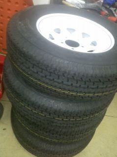 Tires 14 ST 205 75R14 Radial Trailer Tires White Spoke Wheels Rims