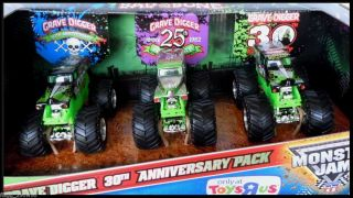 Hot Wheels Monster Jam Truck Grave Digger 30th Anniversary 3 Pack Set