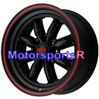 Black Red Stripe Deep Dish Lip Wheels Rims 4x100 03 06 Scion XB
