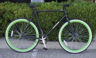 Bike Fixie Bike Road Bicycle 58cm Black w Deep 43mm Green Rims