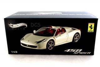 458 Spider White Hot Wheels Elite 1 43 Diecast Car W1183