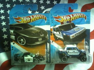2011 Hot Wheels Main Street POLICE Pontiac Firebird 163 Hummer H2 161