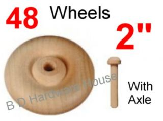 48 2 Wood Wheels with Axle Toy Parts Wooden Wheel