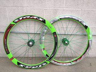 New 700c 51mm Stars Wheelset Wheel Rims Fixie Fixed Gear Red White