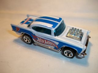 Ho Wheels 57 Chevy Whie Pain Loose Exposed Engine