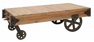 Rustic Pine Wood Cart Coffee Table Antique Wash Iron Wheels 56 Long