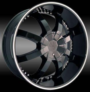 22 inch Taranta Black Wheels Rims 5x115 Charger Magnum
