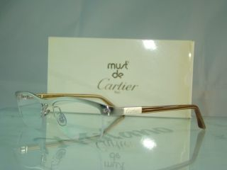 CARTIER PLATINUM T8100811 Half Rim BROWN Eyeglasses Frame Size 53
