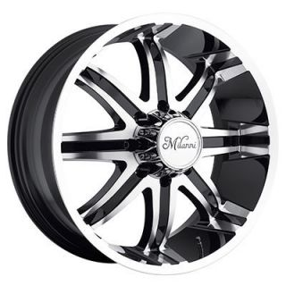 24 Wheels Rims Milanni Kool Whip 8 Gloss Black with Machnd Face Yukon