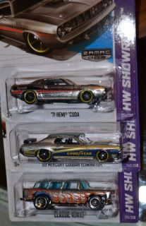 Hot Wheels 2013 Wal Mart Zamac Car Set Hemi Cuda Classic Nomad 69