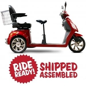 Wheels EW 66 Electric Two Seat Mobility Scooter Tricycle 18 MPH Red