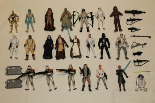 Huge Star Wars Action Figure Lot w Weapons Kenner Hasbro