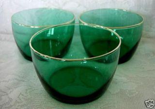 Elegant Vintage Libbeys Teal Green Bowls 24K Gold Rim
