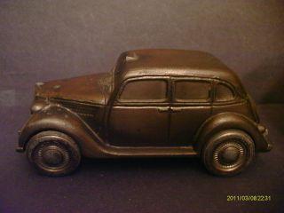 Metal Car Bank Vintage 1935 Ford Taxi Metal Wheels