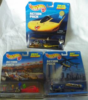 Hot Wheels Action Pack Set Lot of 3 New Sky Search, Drag Racing. Solar