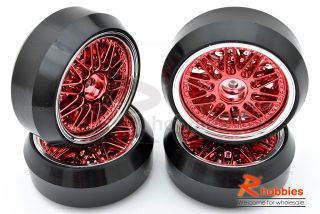 Racing DRIFT Car 20 Sp 3mm DRIFT Sporty Wheels Rims DRIFT Tires 4p Red