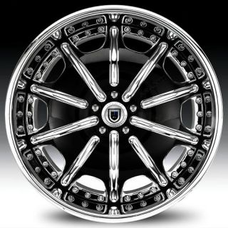 22 asanti AF204 Black Chrome Wheels Rims 3 Piece