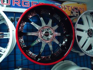 22MHT M10 Wheels Mercedes s CL Chrome Black Red Stripe