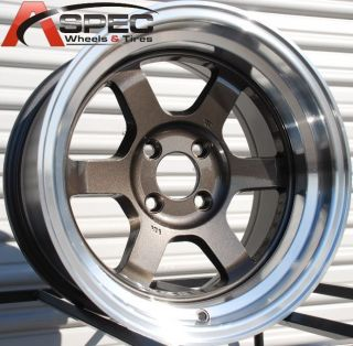 15x8 Rota Grid V Wheels 4x114 3 Rim 0mm Royal Gun Metal Fits AE86