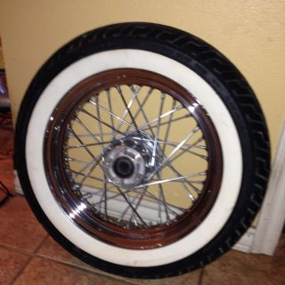 Harley 16 Steel Dual Disk Front Wheel w Whitewall Dunlop MT90B16 Tire